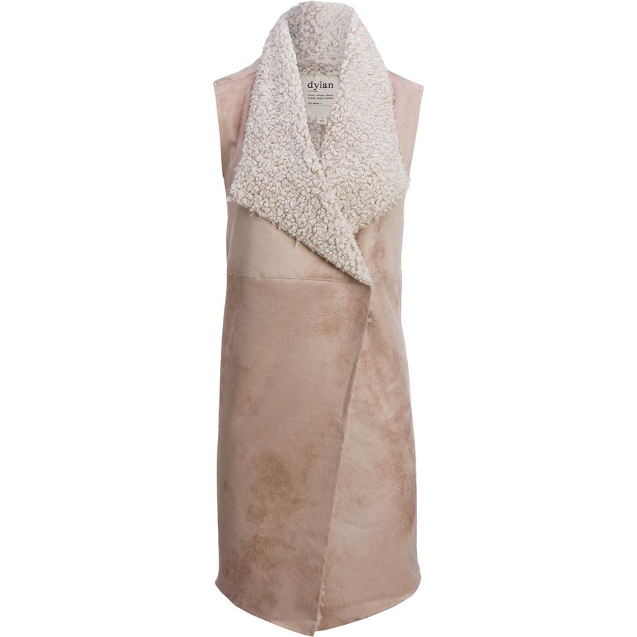 Dylan Frosty Tipped Shearling Long Snap Vest - Womens