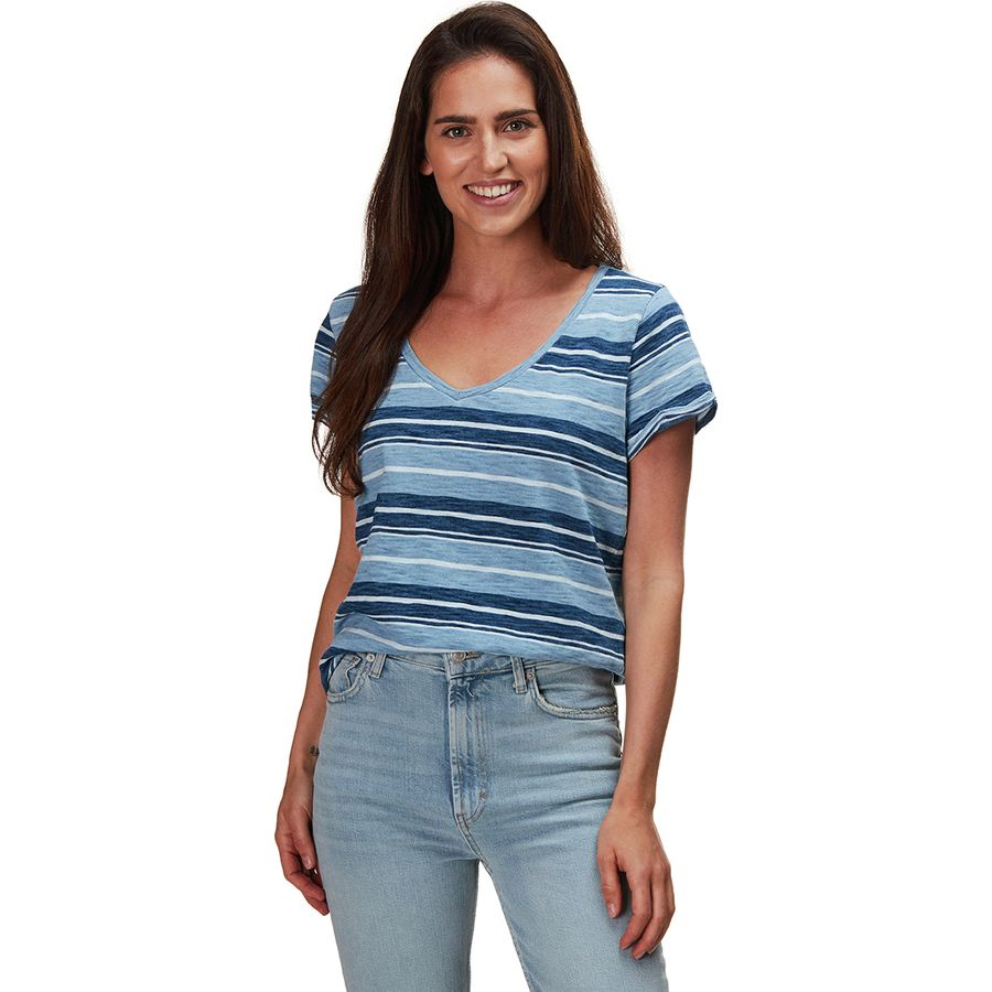 2b5bec641adc Dylan - Indigo Knit Texture Slub Stripe Effortless V-neck T-Shirt - Wash