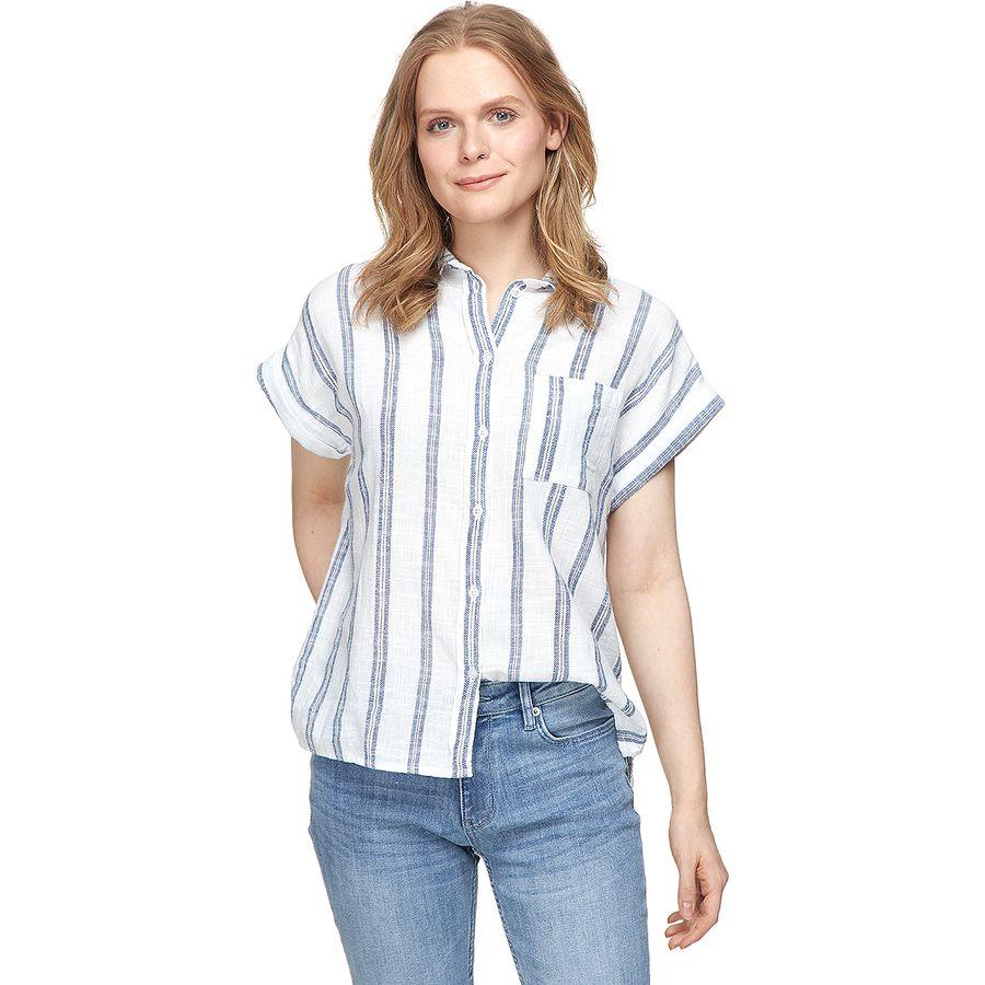 Dylan White Slub & Indigo Stripe Camp Shirt - Womens