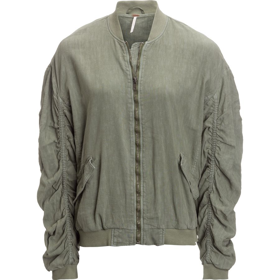 Free People Ruched Linen Bomber Jacket - Womens