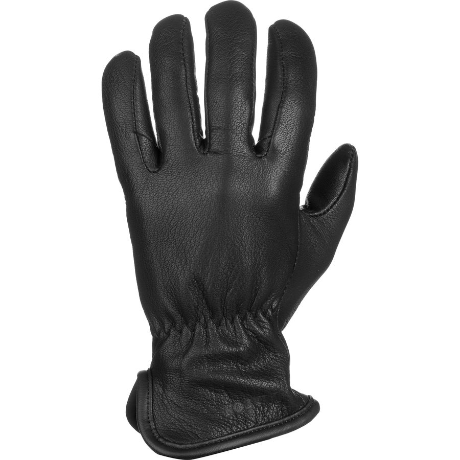 Leather work gloves with wool lining - Filson Original Wool Lined Goatskin Gloves Black