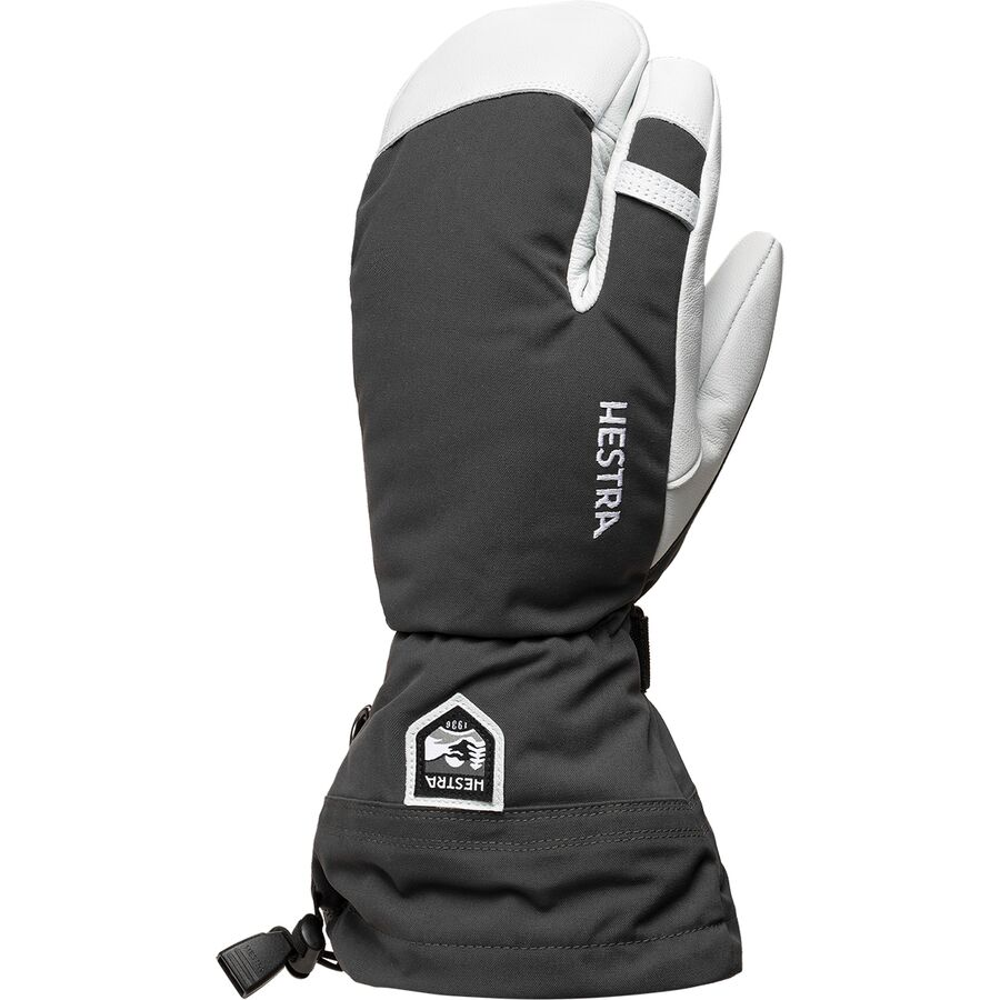 Hestra mens gloves - Hestra Army Leather Heli 3 Finger Glove Grey