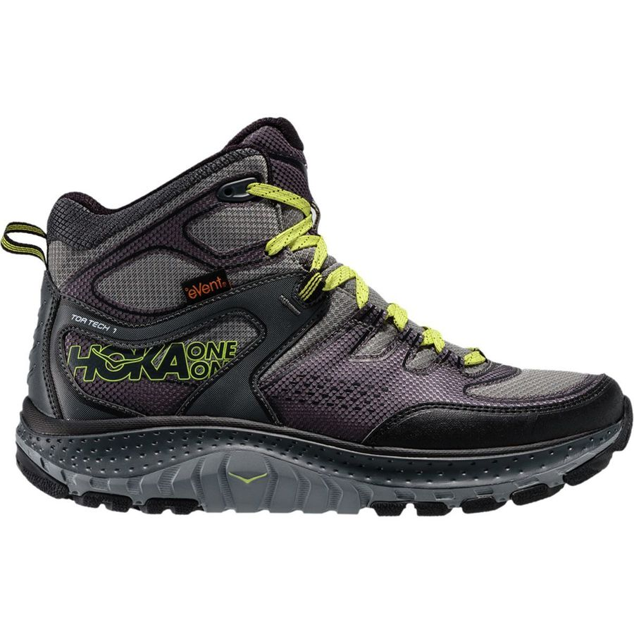 Hoka One One - Tor Tech Mid WP Hiking Boot - Men's - Grey/Acid