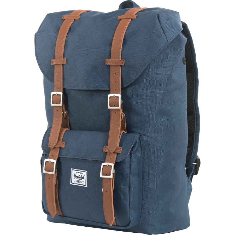 24fc36f7a4b Herschel Supply - Little America Mid-Volume 17L Backpack - Navy Tan  Synthetic Leather