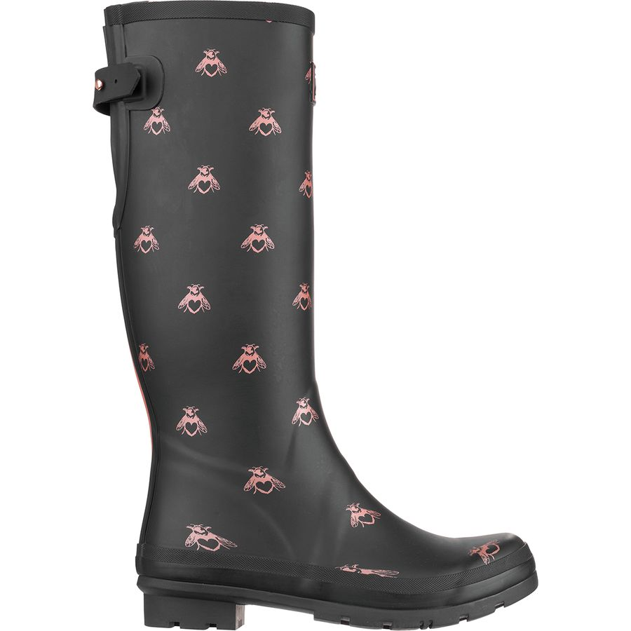 Joules - Welly Print Boot - Women s - Black Love Bees 3d6f7d077