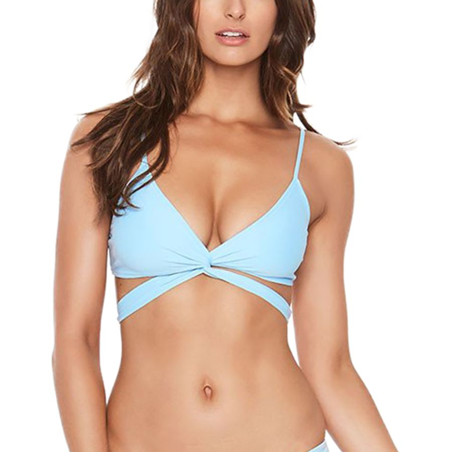 Lulus Exclusive! Splash and play all day in the Lulus Water Work It Dusty Purple Wrap Bikini Top! Sleek stretch knit shapes this sexy swimsuit top with tying halter straps, triangle cups, and a bottom band with extra long ties that create a cool wrap look/5(16).