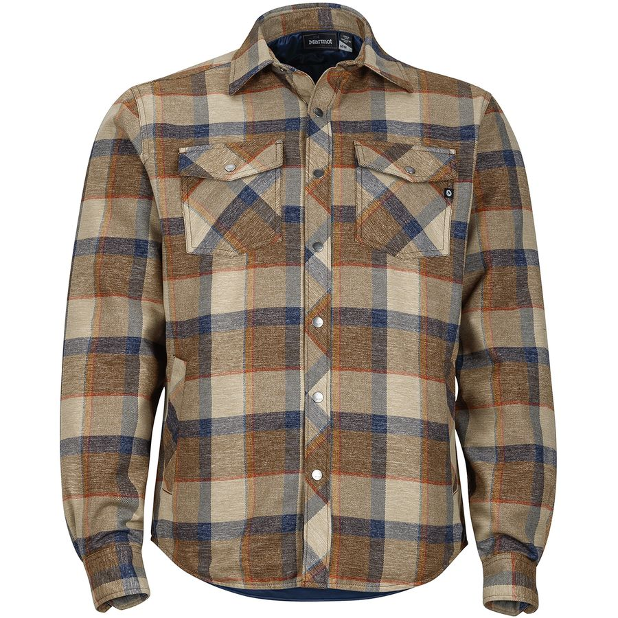 Marmot arches insulated flannel shirt jacket men 39 s for Mens insulated flannel shirts