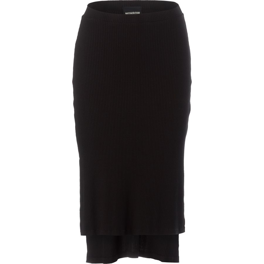 Monrow Long Slit Rib Skirt - Womens