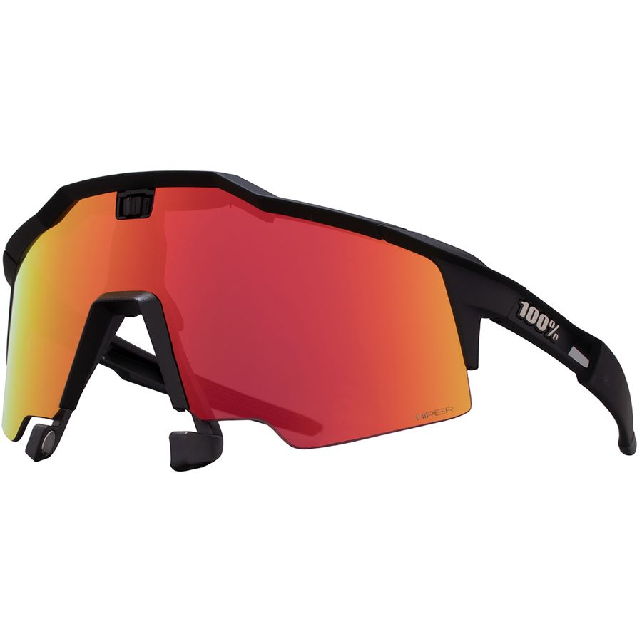 a393ea30336bd7 100% - Speedcraft Air Sunglasses - Soft Tact Black-Hiper Red Multilayer  Mirror Lens