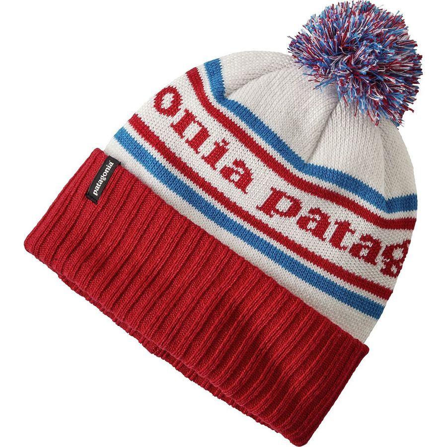 dfba47716b6 Patagonia - Powder Town Pom Beanie - Girls  - Park Stripe Classic Red