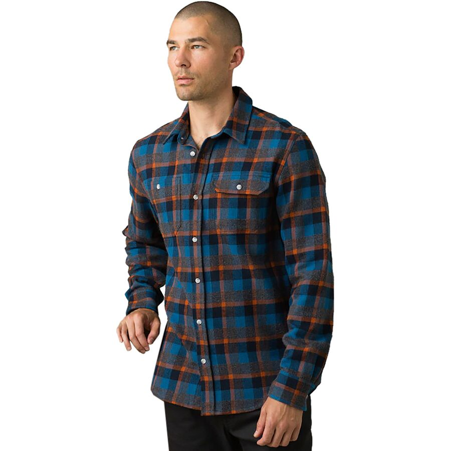 prAna Men/'s Blue Green L//S Flannel Shirt