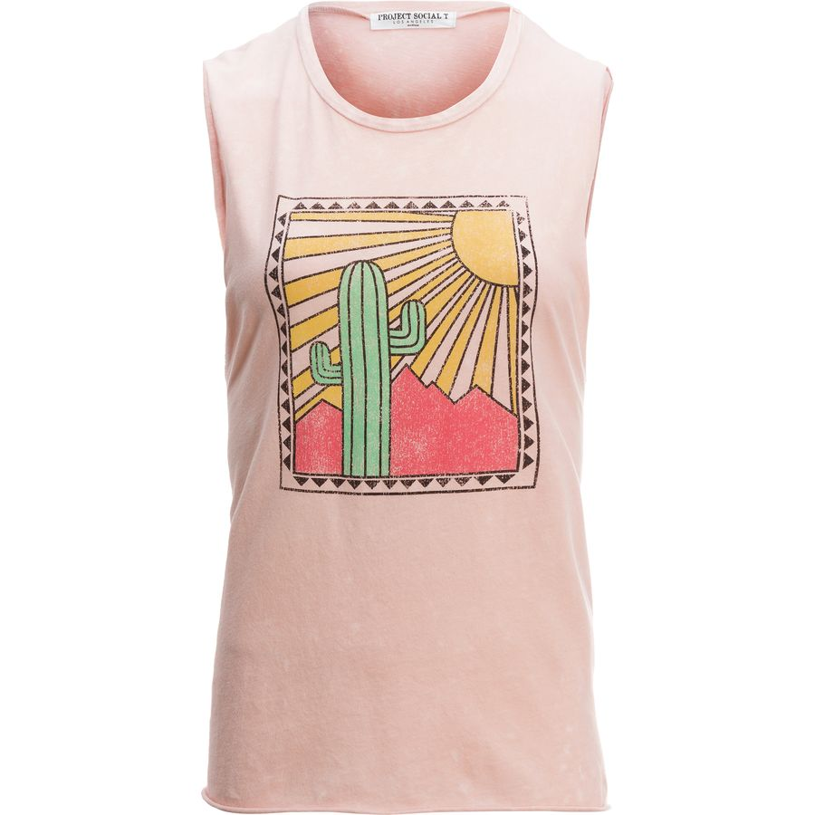 Project Social T Cactus Sun Muscle Tank Top - Womens