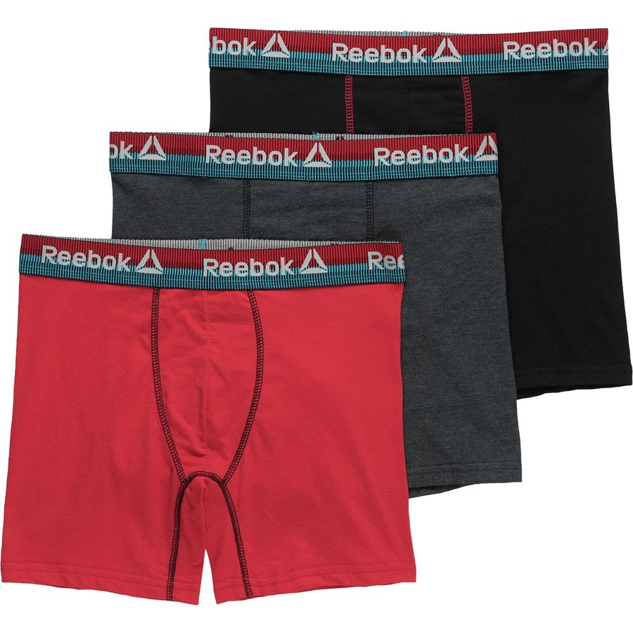 b1bd00375c Reebok - Stretch Boxer Briefs 3-Pack - Men's - Charcoal Heather/Primal Red