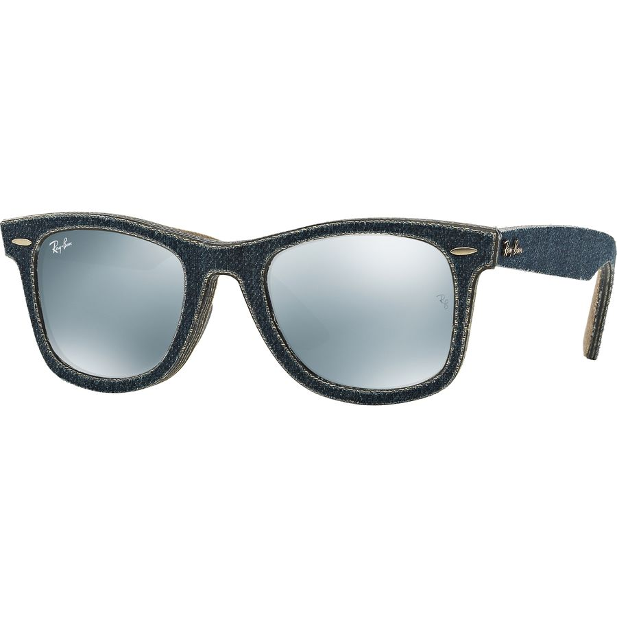 ray ban glass or polycarbonate  ray ban original wayfarer sunglasses blue jeans outside/ green brown jeans