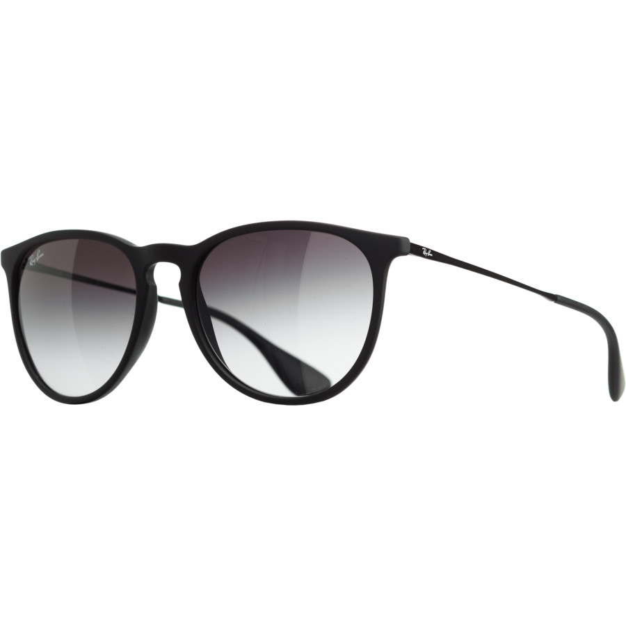 ray ban erika sunglasses womens rubberized blackmatte blackgray