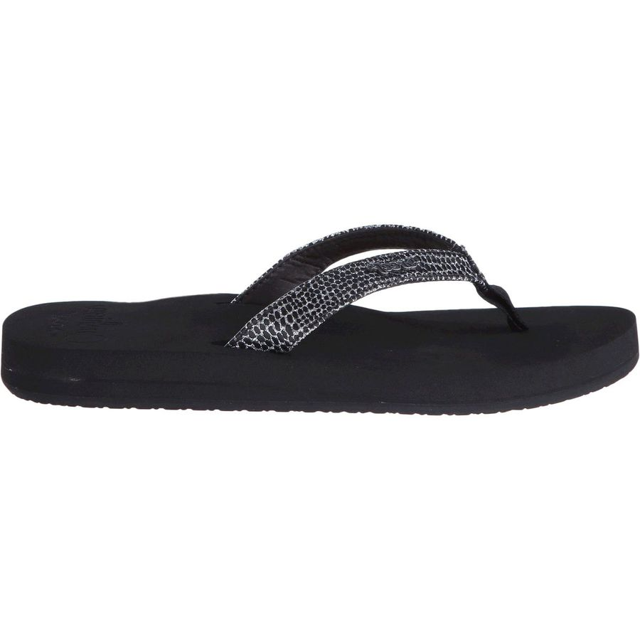 Reef - Star Cushion Sassy Flip Flop - Women s - Black Silver d092ebf5a79b