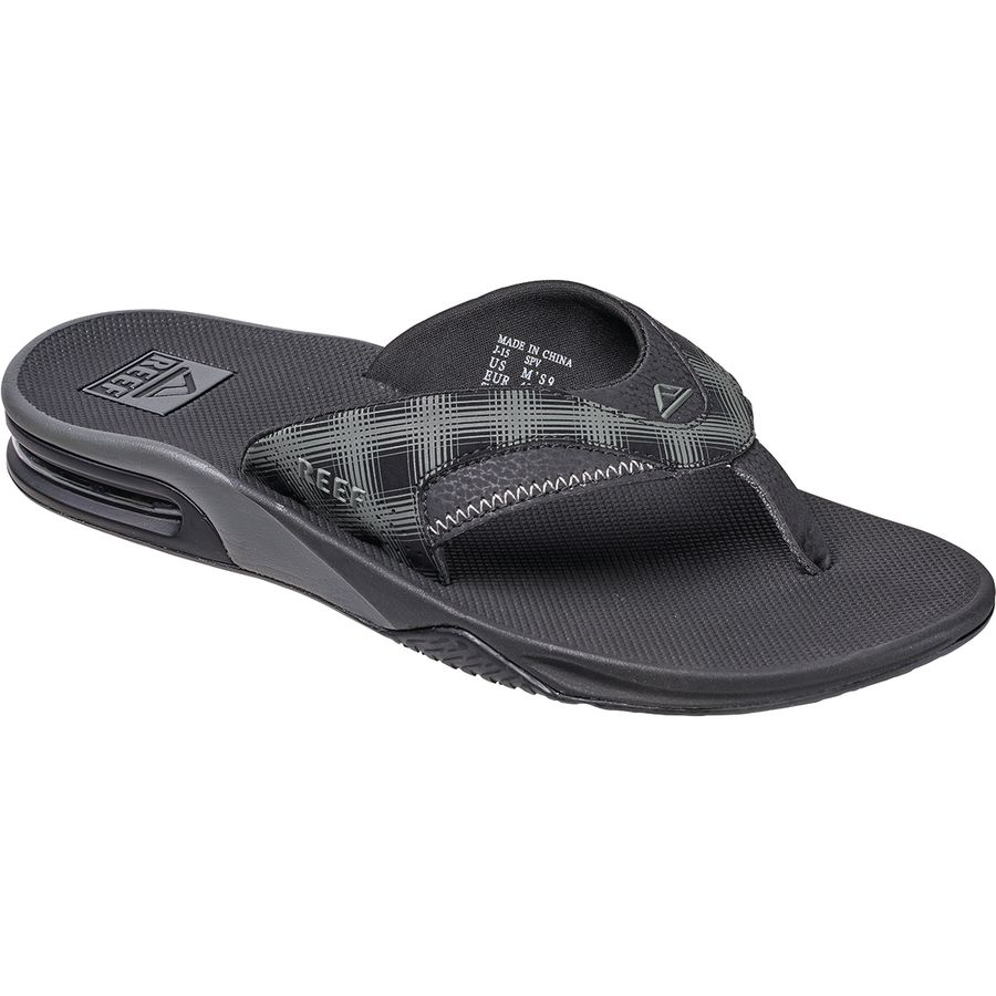 Reef - Fanning Prints Flip Flop - Men's - Black Plaid 4
