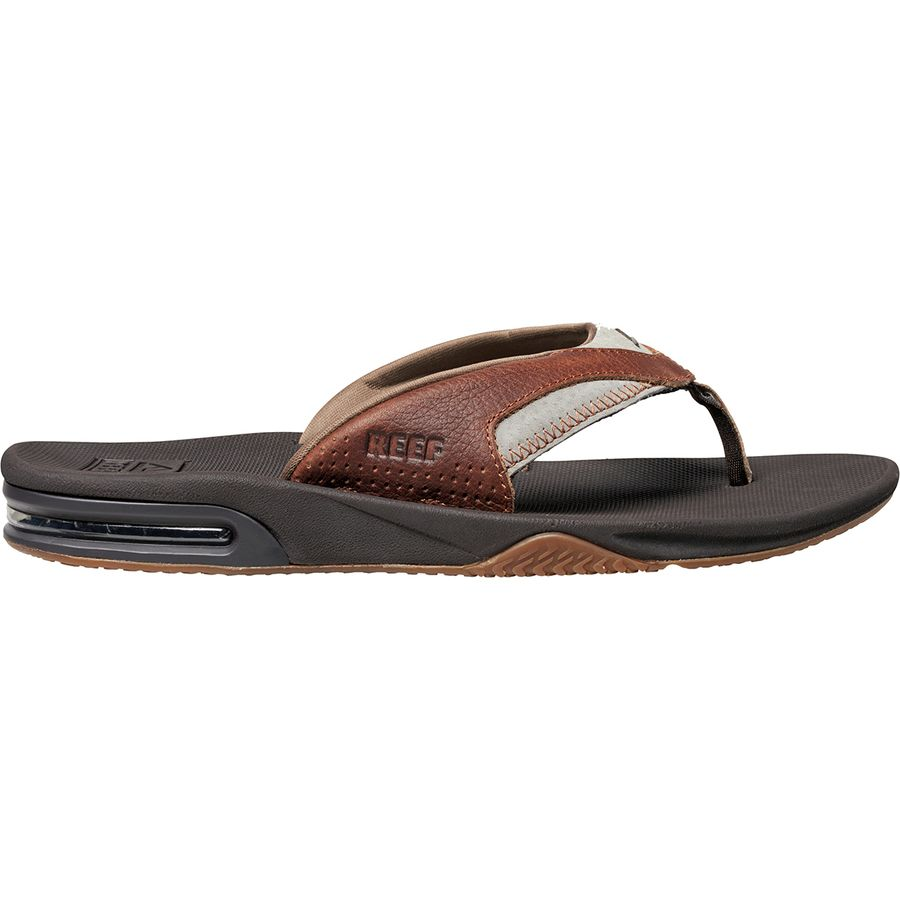 e6a7bd29222c Reef - Leather Fanning Flip Flops - Men s - Brown Brown