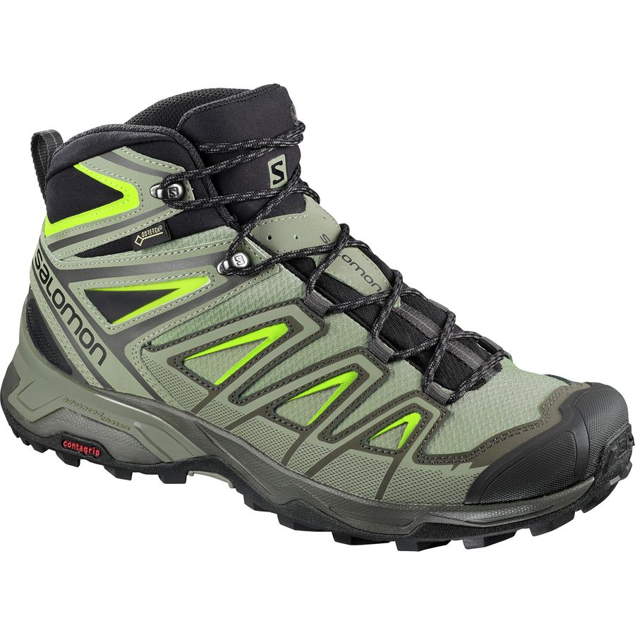 Salomon Green Black Mens Ultra Mid Boots Boots X Gore Tex Walking Mens