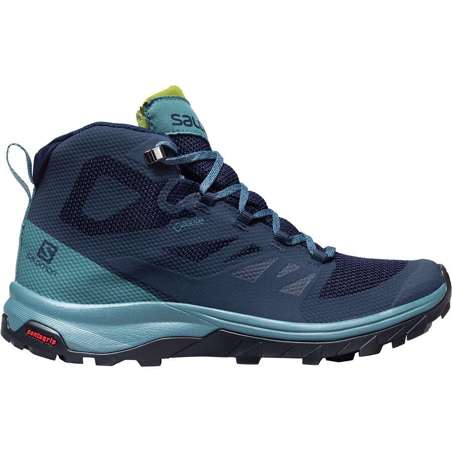 54ab50cb8e40 Salomon - Outline Mid GTX Hiking Boot - Women s - Navy  Blazer Hydro Guacamole