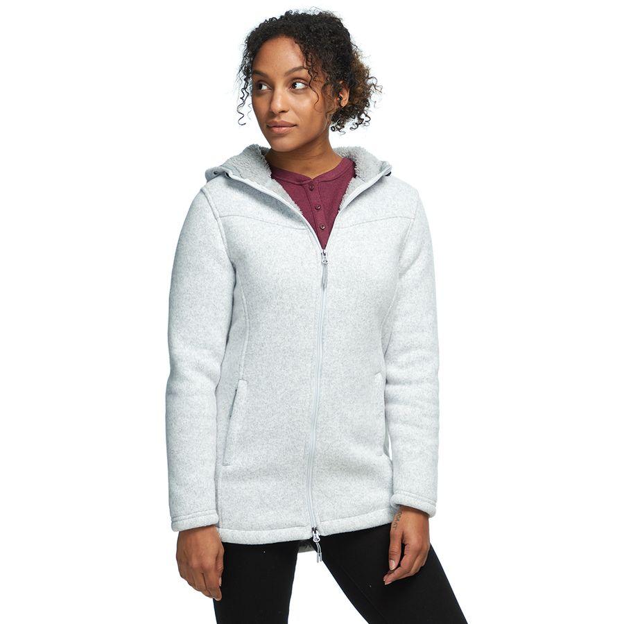 Stoic - Sherpa Lined Hooded Sweater Fleece Jacket - Women s - Light Heather  Grey e5560a7e0