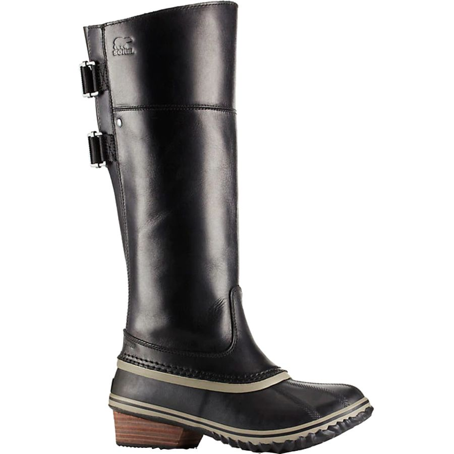 These tall stitched-out detailed riding boots are sophisticated and sleek. This square-toe pair is made from a smooth vintage Italian leather and has a low heel. The pull tabs at side are easy for wearibility.