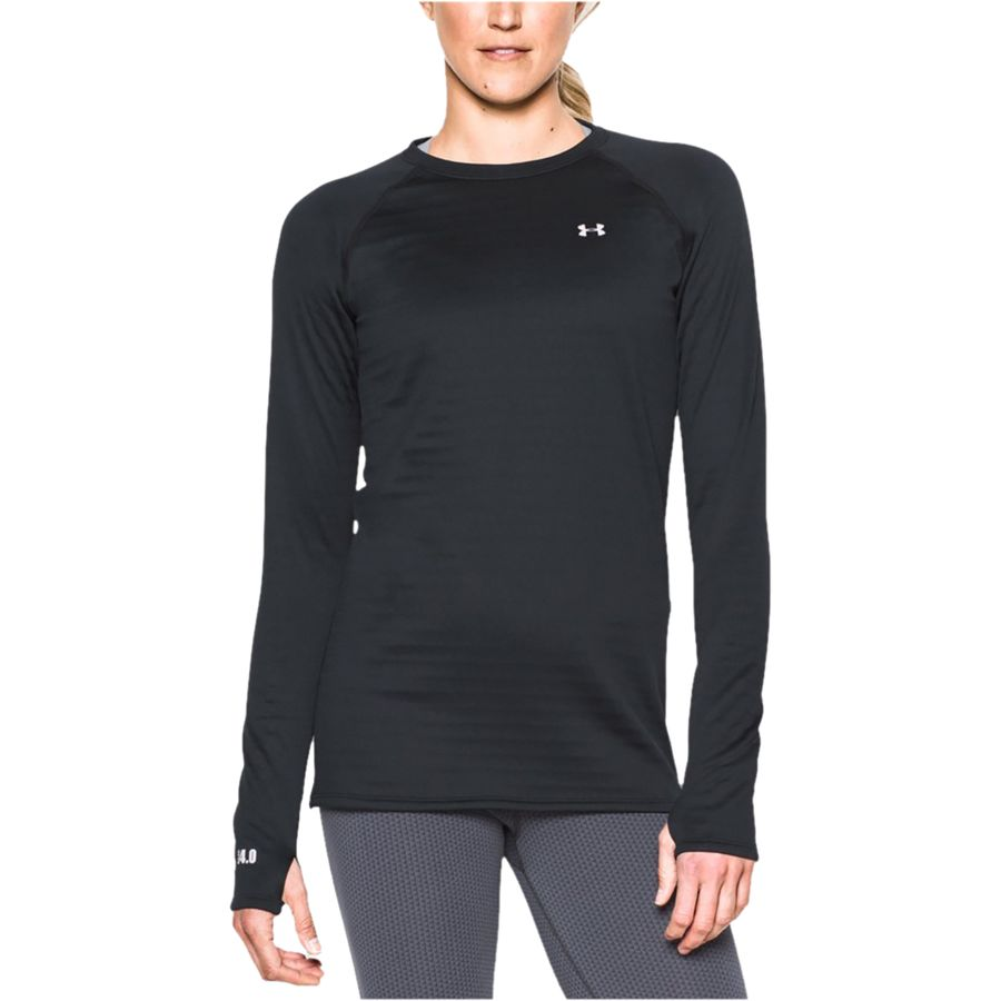 under armour 4 0 base layer womens. under armour - base 4.0 crew women\u0027s black/glacier gray 4 0 layer womens