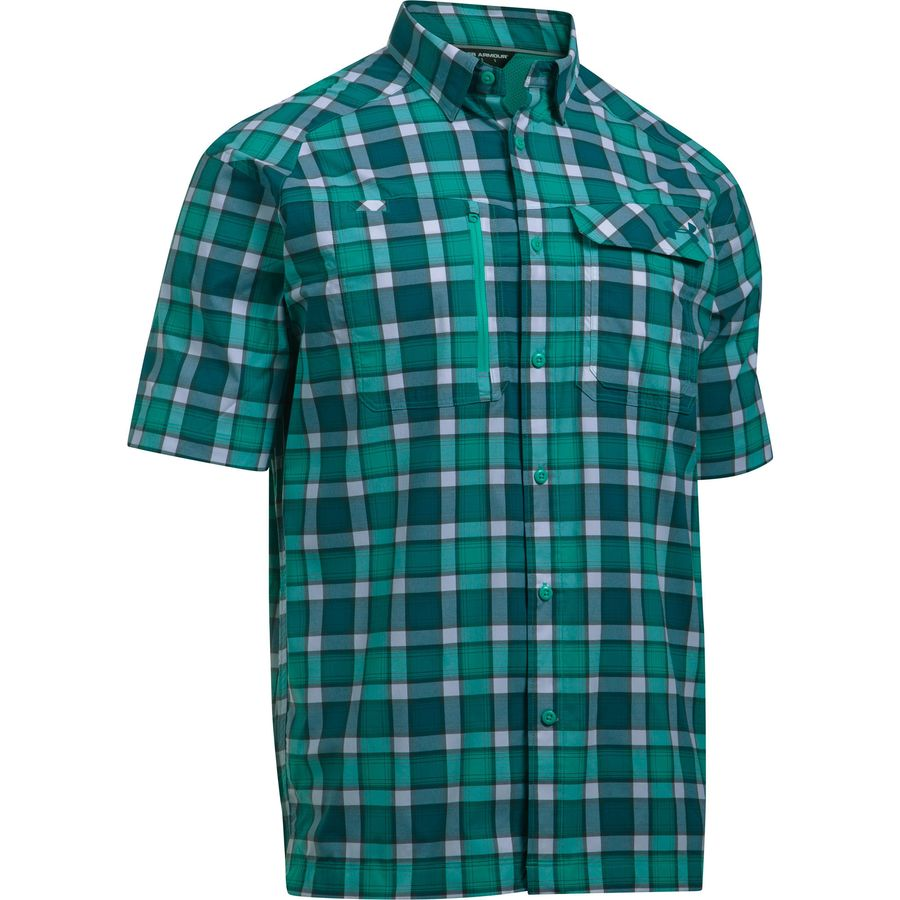 Under armour fish hunter short sleeve plaid shirt men 39 s Short sleeve plaid shirts