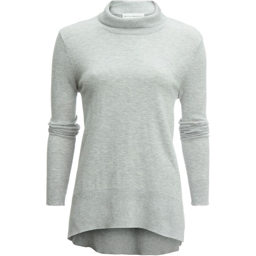 White + Warren Trapeze Standneck Shirt -Womens