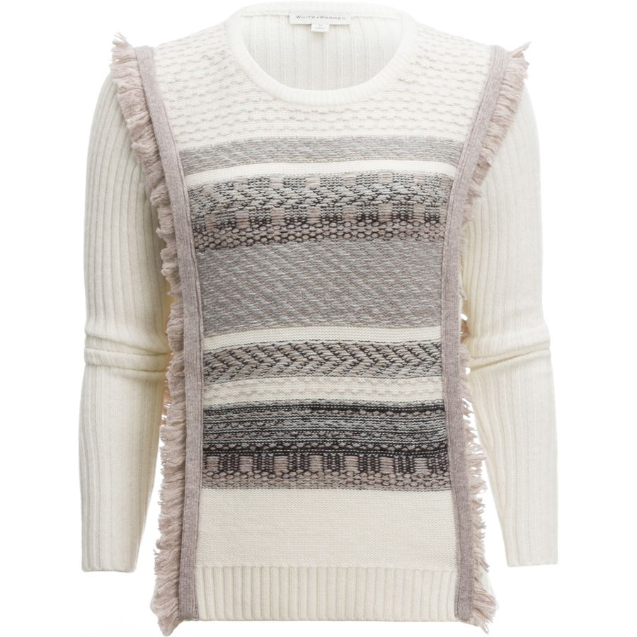 White + Warren Tapestry Fringe Cable Crewneck Sweater - Womens