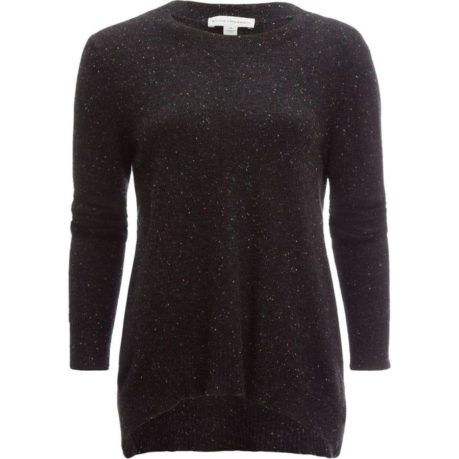 White + Warren Cashmere Hi Lo Crewneck Sweater - Womens