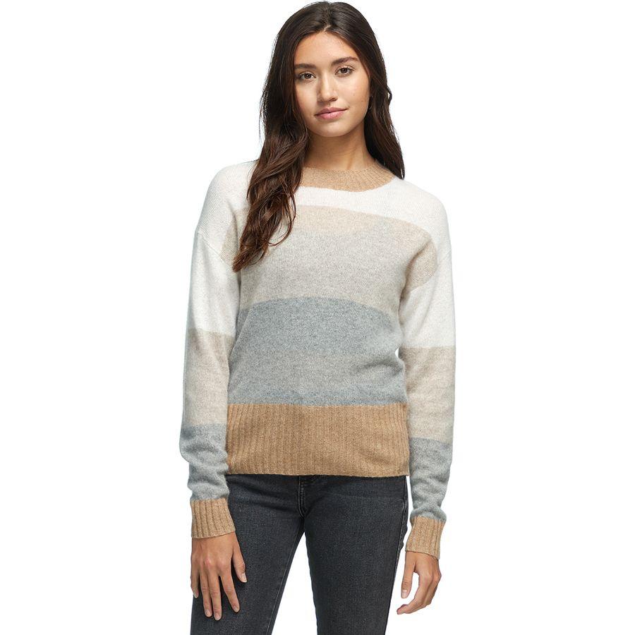 White + Warren Block Stripe Crewneck Sweater - Womens