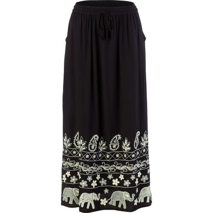 Ana Drawstring Elastc Long Maxi Skirt with Elephant Embroiderey - Women's