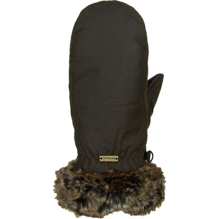 Barbour Wax With Fur Trim Mitten - Women's
