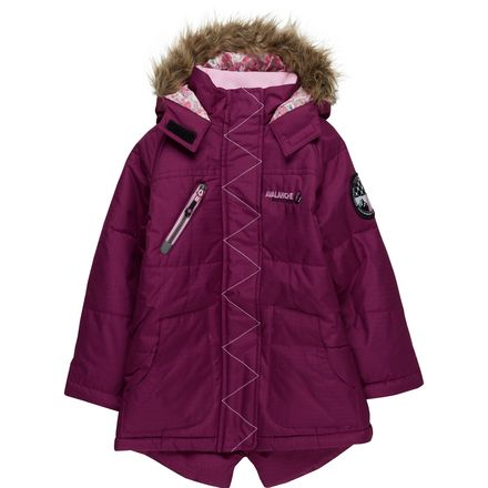 Big Chill Expedition Floral Trim with Faux Fur Trim Hood Jacket - Girls'