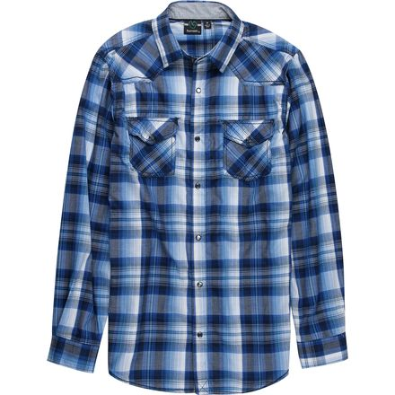 Burnside Blue Plaid Long-Sleeve Woven Shirt - Men's
