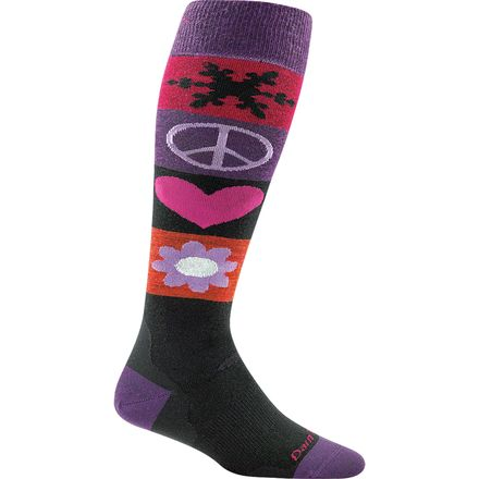 Darn Tough Merino Wool Peace Love Snow Cushion Ski Socks - Women's