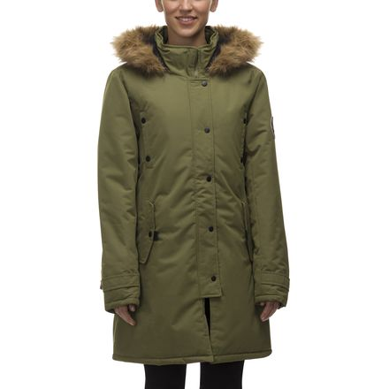 82 Degrees Fahrenheit Faux Fur Trim Hooded 3/4 Parka - Women's