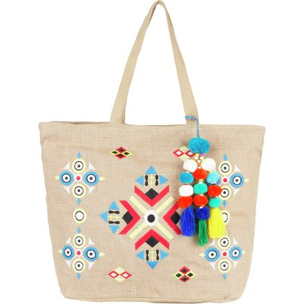 Magid Canvas Multi Print Tassle Tote