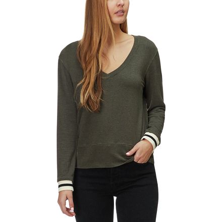 Monrow Supersoft Long-Sleeve V-Neck Elastic Cuff Top - Women's