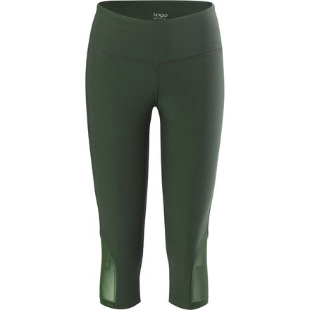 Vogo Activewear Solid Capri Legging with Mesh Inserts - Women's