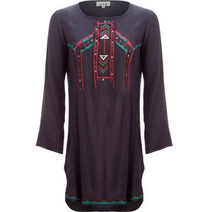 Ana Embroidered Dress with Shirt Tail Hem - Women's