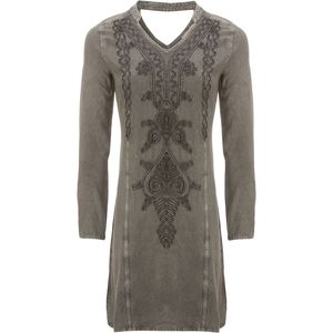 Ana Long-Sleeve Vintage Wash Tunic/Dress with Tonal Embroidery - Women's