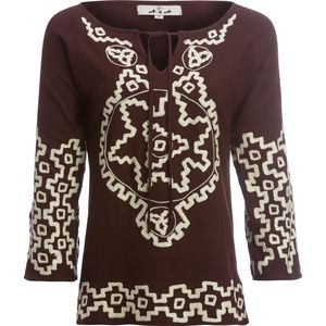 Ana Split Bell Sleeve Embroidered Tunic with Tassles - Women's