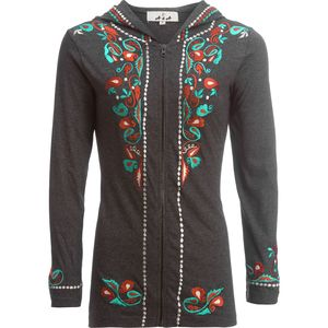 Ana Zip Front Hoodie with Embroidery - Women's