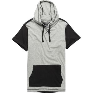 Burnside Rocky Short Sleeve Hoodie with Contrast patch pocket and sleeve - Men's