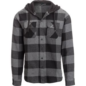 Burnside Large Check Flannel Shirt with Hood Jacket - Men's