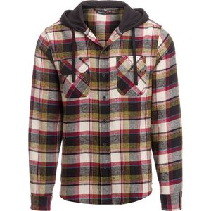 Burnside Khaki Check Flannel Shirt with Hood Jacket - Men's