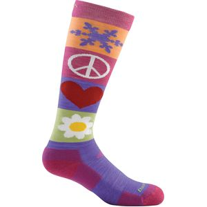 Darn Tough Peace Love Snow Jr. Over-The-Calf Cushion Sock - Girls'