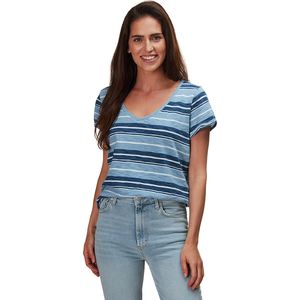 Dylan Indigo Knit Texture Slub Stripe Effortless V-neck T-Shirt
